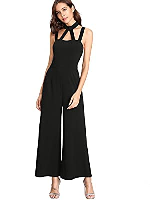 MakeMeChic Women's Summer Sleeveless Caged Solid Backless Halter Loose Wide Leg Jumpsuit