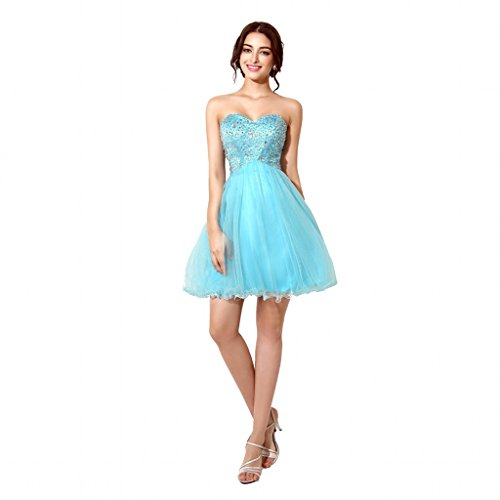 Sarahbridal Blue Tulle Short Homecoming Dress Prom Gown SD034-US6