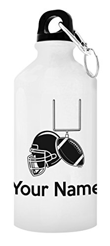 Customized Football Equipment Customized Football Water Bottle Personalized Gift 20-oz Aluminum Water Bottle with Carabiner Clip Top ()