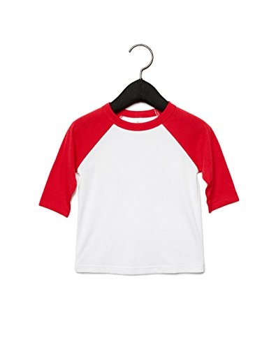 Bella Canvas 3200T Toddler 3/4-Sleeve Baseball T-Shirt White/Red 3T