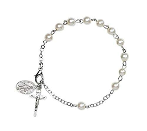 CB 6MM Ivory Simulated Imitation Pearl Bead Rosary Bracelet with Miraculous Medal Charm, 7 3/4 Inch