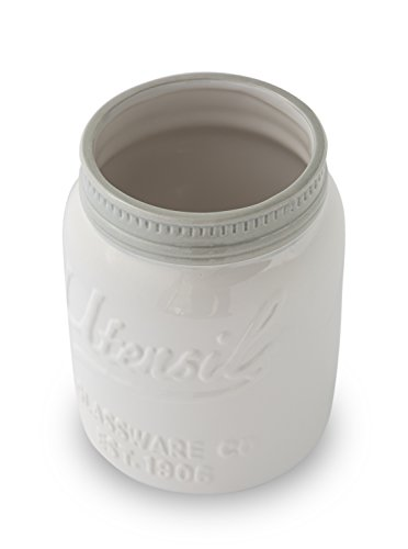Wide Mouth Mason Jar Utensil Holder by Comfify - Decorative Kitchenware Organizer Crock, Chip Resistant Ceramic - Perfect Cookware Gift - White, Large Size by Comfify (Image #3)