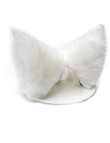 Cat Fox Ears Long Fur Hair Headband Cosplay Party Costume White