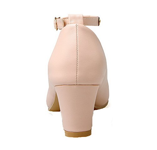 Chaussures Bout Rond Pompes à VogueZone009 PU Femmes Rose Kitten Talons Solide Boucle wqvBA8
