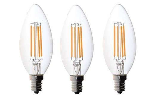 3 Pack 60 watt Candelabra Bulbs, Bioluz LED Candelabra Bulbs, Dimmable Filament Clear 60 Watt LED Bulbs (Uses only 4.5 watts), E12 Base, C37 LED Filament Candle Bulbs, Pack of 3