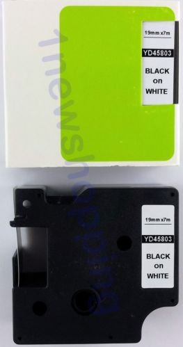 Black on White Label Tape Compatible for DYMO D1 45803 S0720830 19mm