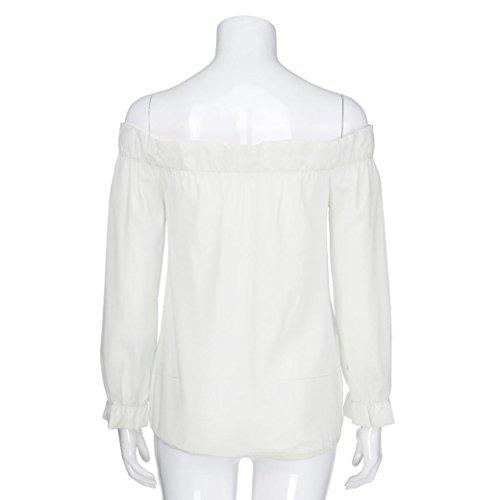 Felpa shirt Pullover Autunno Lunghe Casual donna Tops Collo Solido Elegante Camicette Abcone T Camicie Bianco Farfalla Maniche Barra 5E87xBwBq