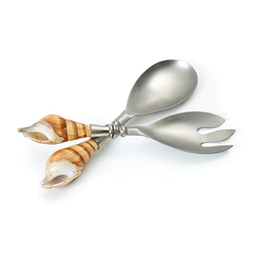 Hip Vintage Stainless Steel Shell Salad Servers