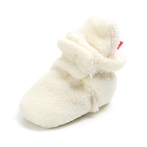 Save Beautiful Newborn Infant Baby Girls Boys Slippers Warm Fleece Boots First Walkers Shoes (6-12 Months, A-White) ()