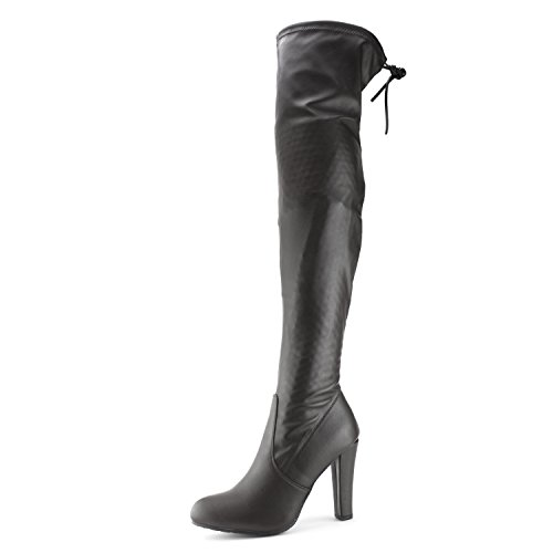 Leather Adults Knee Link High Boots Faux Heel Black UwB6wqpT