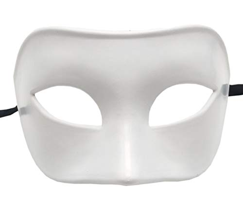 Mens Masquerade Mask Vintage Greek Roman Mask Venetian Party Mask Halloween Mardi Gras Mask (White) -