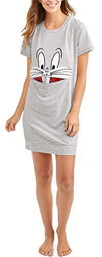 Women's Looney Tunes Bg Head Bugs Bunny Nightshirt Sleepshirt (Large/X-Large (14-18))