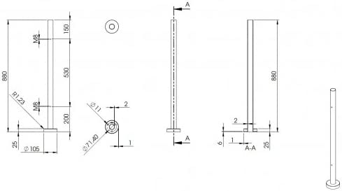 Edelstahlpfosten Endpfosten zur Bodenmontage 42,4mm L= 880mm mit 2x Gewinde f/ür Glasklemme nach Wahl