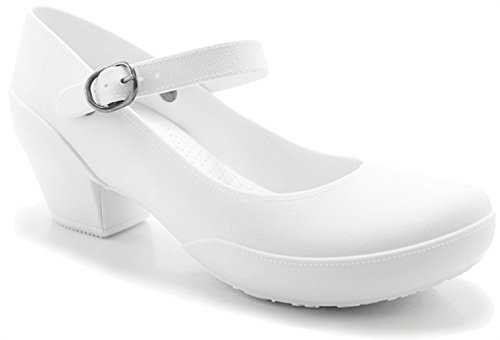 Boaonda Women's Mary Jane Pumps- Comfortable Heels-Galicia (4/5, White) (White Nursing Mary Shoes Jane)