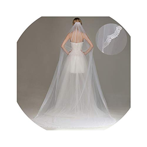 3M Lace Edge Cathedral Wedding Veil with Comb One Layer Tulle Bridal Veil Wedding - Bridal Aire Bel