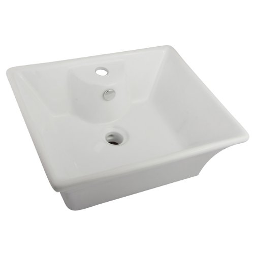 DECOLAV 1444-CWH Tallia Rectangular Above-Counter Ceramic Bathroom sink, 22.25 X 18.25 X 4 inches, white