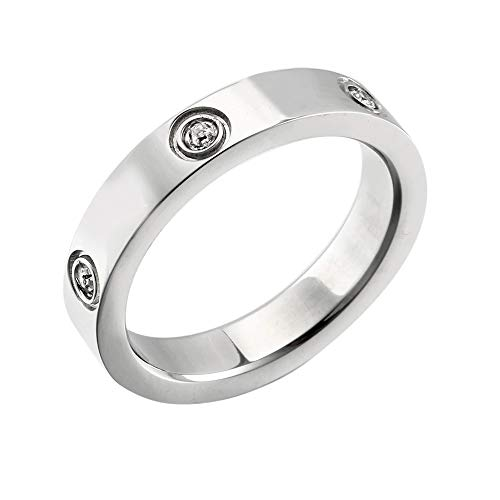 Designer Inspired Silver Titanium Steel Love Ring with Swarovski Crystals (7)
