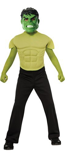 Marvel Avengers Assemble Incredible Hulk Muscle-Chest Costume Shirt with Mask by Rubie's (Incredible Hulk Muscle Costume)