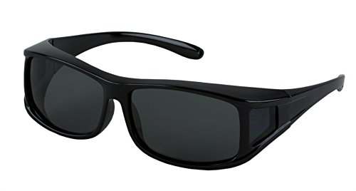 - LensCovers Wear Over Sunglasses Size Medium Black Rectangle Frames with Smoke Lens - Fit Over Style