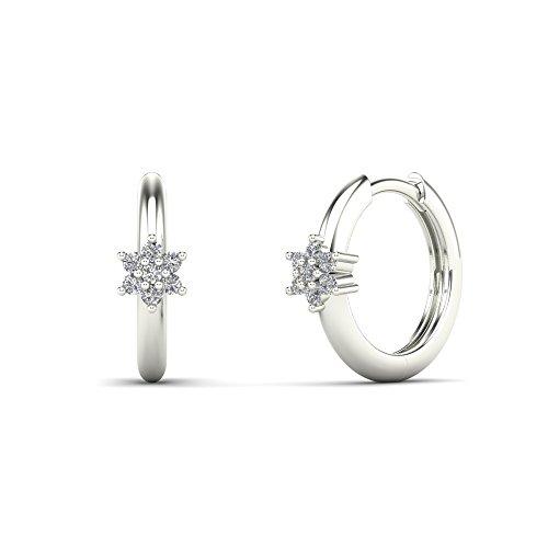 (JewelAngel Women's 10K White Gold 1/8 Carat TDW Diamond Flower Hoop Earrings (H-I, I1-I2) )