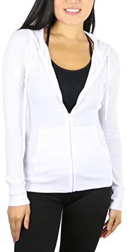 ToBeInStyle Women's Long Sleeve Full Zip-Up Thermal Hoodie - White - Large