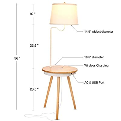 Brightech - Owen LED Floor Lamp & Nightstand with Wirless Charging Pad & USB Ports - Tripod Bedside Table - Mid Century Modern End Table for Living Rooms – Natural Wood