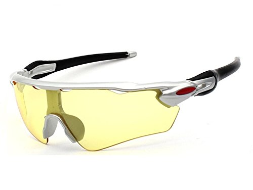 a57a892f2d5 Mcolics Men s HD Night View Driving Glasses Polarized Anti-Glare Rain Day  Night Vision Cycling