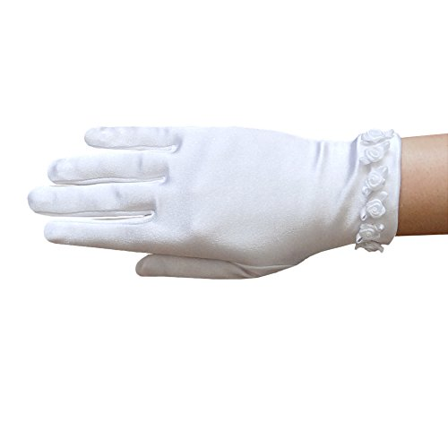 ZaZa Bridal Girl's Satin Gloves with Small Rosebuds Accent Trim- Girl's Size Small ()