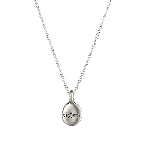 "Dogeared Make A Wish Sister Word Pebbles Necklace, Sterling Silver 16"" with 2"" Extender"