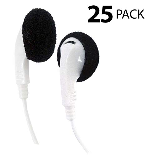 Bulk Disposable Headphones Stereo TT-1 White Earbuds 25 Pack