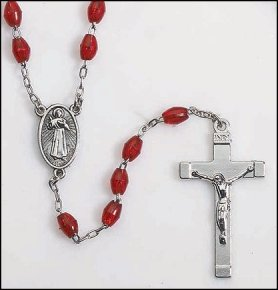 Men, Womens or Childrens Silver & Red Beaded Divine Mercy of Jesus Devotional Rosary, Divine Mercy Centerpiece, Crucifix Charm, Material: Moulded 6 Mm Oval Bead Size: 18