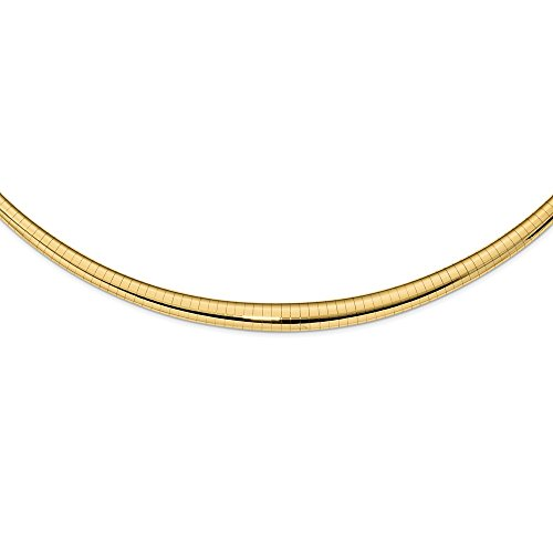 Omega Omega Necklace Polished Semi-Solid 3 mm 16 in 14K Yellow Gold 3/6mm Graduated Omega Necklace