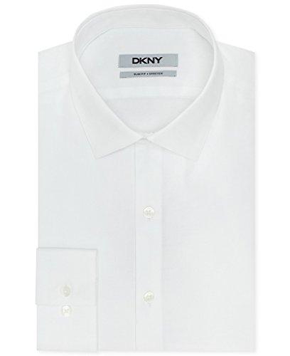 DKNY Slim Fit Twill Solid Dress Shirt - White 17.5 34/35 - Dkny White Shirt
