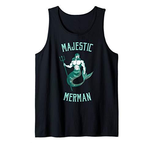 - Mens Majestic Merman Trident Male Mermaid Tank Top
