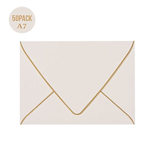 A7 Ivoy Envelopes 5 x 7 With Gold Border,- 50 Pack,For 5x7 Cards| Quick Self Seal| Perfect for Weddings, Invitations, Photos, Graduation, Baby Shower| 250GSM Luxury paper|5.25 x 7.25 Inches (Ivory)