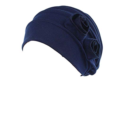 Ever Fairy Chemo Cancer Head Scarf Hat Cap Ethnic Cloth Print Turban Headwear Women Stretch Flower Muslim Headscarf (Navy)