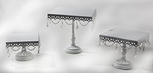 Opulent Treasures White Cake Stand, Set of 3, Square Serving Plates, Metal, Chandelier Accents, Cupcake Wedding Dessert Display