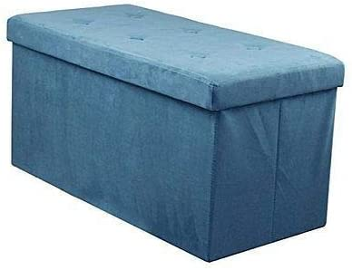 Storage Bench Chest – Contemporary Faux Suede (Small Teal) Blue
