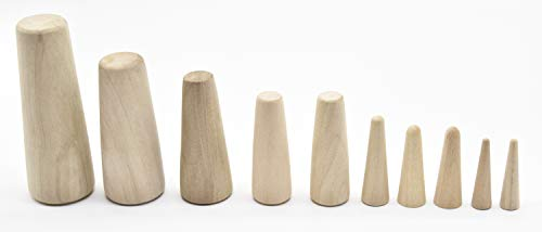 Marine City Boat Tapered Conical Soft Wood Plugs- Set of 10, 7 Different -