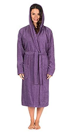 Ladies Dressing Gown Hooded Terry Towelling Spa Hotel Shawl Collar 100% Cotton  Robe (L f6a8b1a73