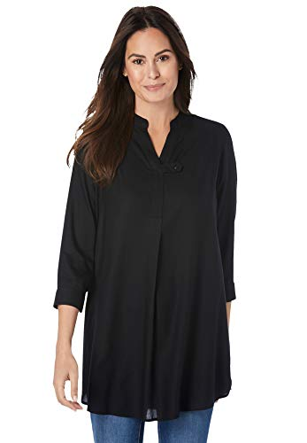 Woman Within Women's Plus Size Three-Quarter Sleeve Tab-Front Tunic