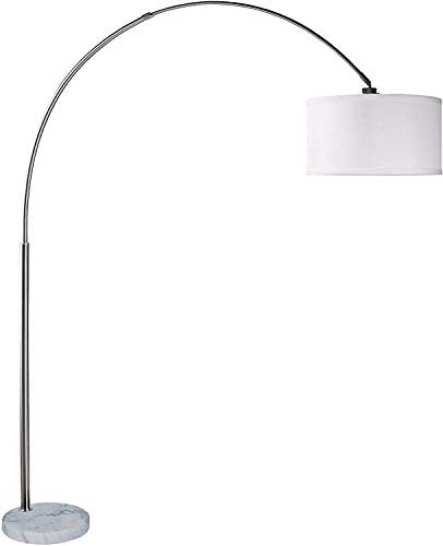 Amazon Com Sh Lighting 6938 Brush Steel Arching Floor Lamp With White Marble Base Features Large White Drum Style Shade 81 Tall Fits In Living Or Bedrooms White Home Kitchen