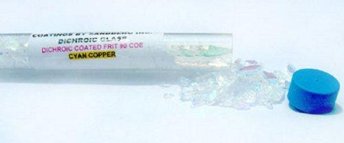 2oz Tube CBS Dichroic Glass Coarse Frit Cyan Copper on Clear COE - Tube Glass Dichroic Clear