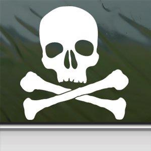 Skull And Crossbones White Sticker Car Vinyl Window Laptop White Decal