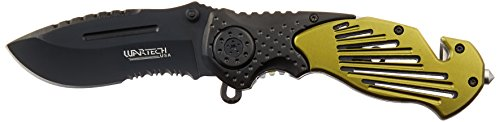 Wartech Tactical Half Serrated Spring Assisted Rescue Knife,