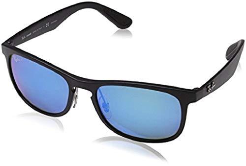 Ray-Ban Men's RB4263 Chromance Mirrored Square Sunglasses, Matte Black/Polarized Blue Mirror, 55 ()