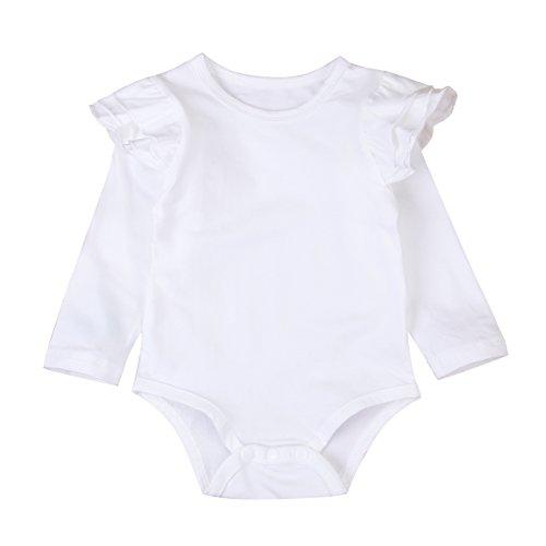 Infant Baby Girl Basic Ruffle Long Sleeve Cotton Romper Bodysuit Tops Clothes (White, 3-9 ()