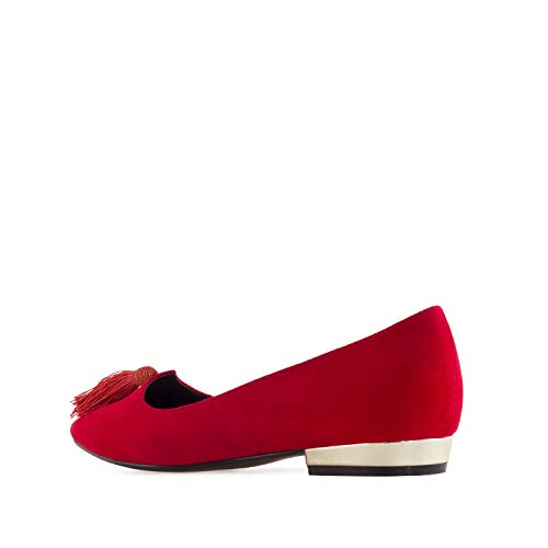 AM5307 Andres Sizes Suede Flats Machado Red Ballet Large in Suede Tassle qRRUZw6S