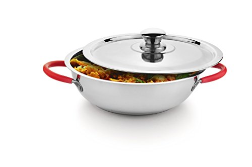 Classic Essentials Stainless Steel Capsule Bottom Kadai with Steel Lid 27 cm