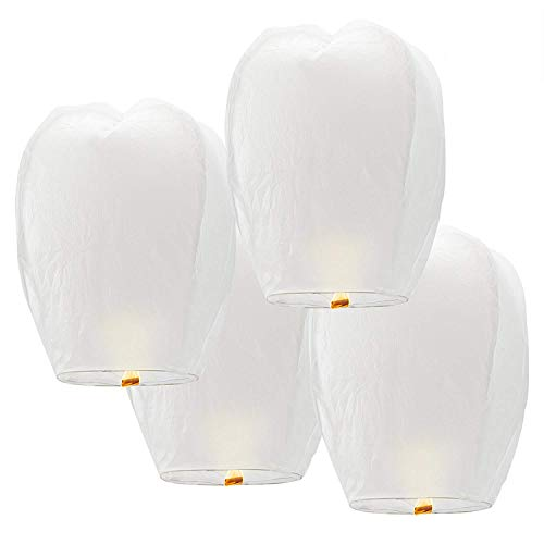 20Pack Chinese Sky Lanterns - White, Eco Friendly, 100% Biodegradable. Wire-Free Paper Japanese Prime Lantern to Release in Sky.